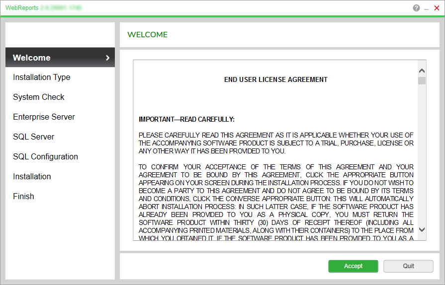 Webreports Installer End User License Agreement Page