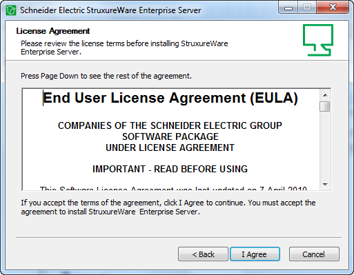 make sure that you agree with the end user license agreement eula and then click i agree select enterprise server